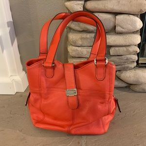 Red Tignanello Shoulder Bag With Magnetic Closure